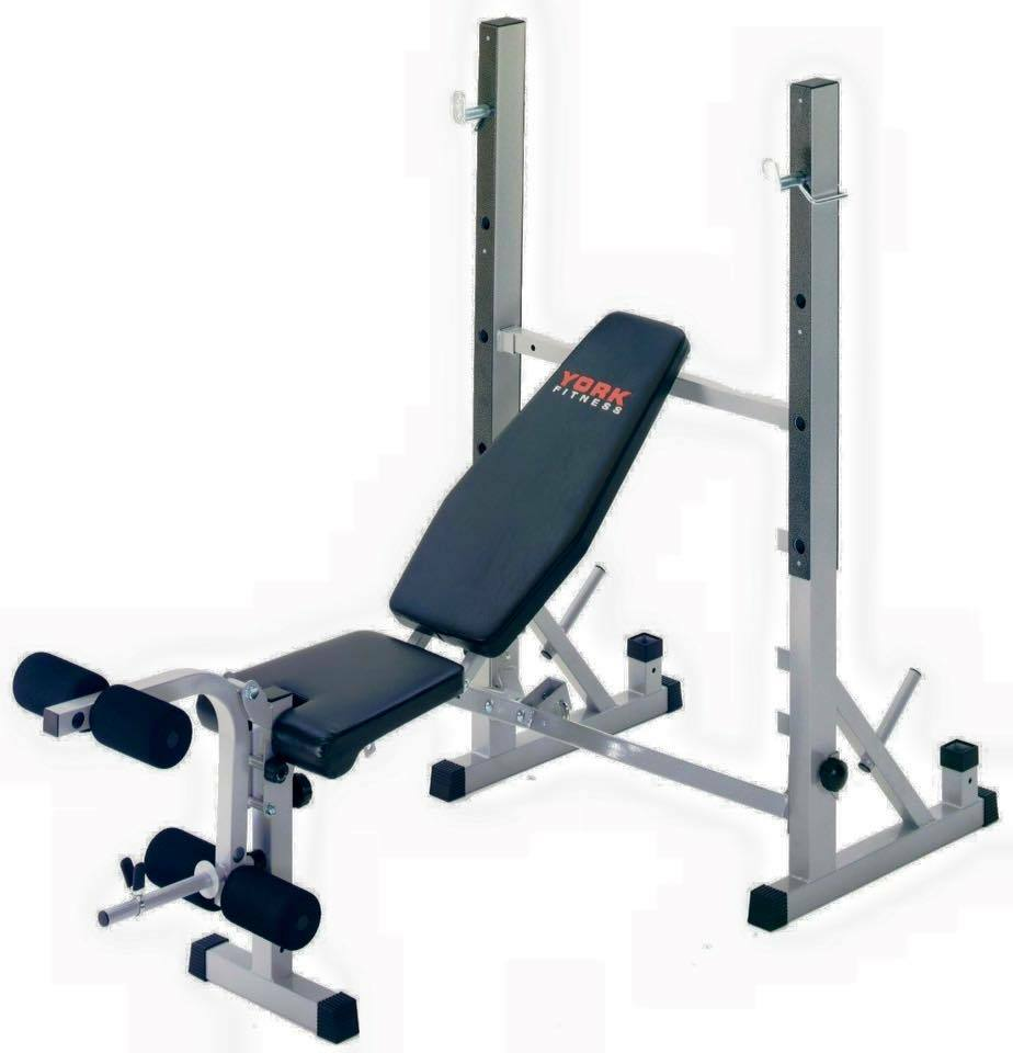 York Bench Press And Squat With Lat Pull Down Equipment Plus Weight Plates Dumbells And