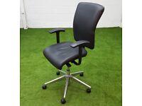 Orange box go swivel chair black leather