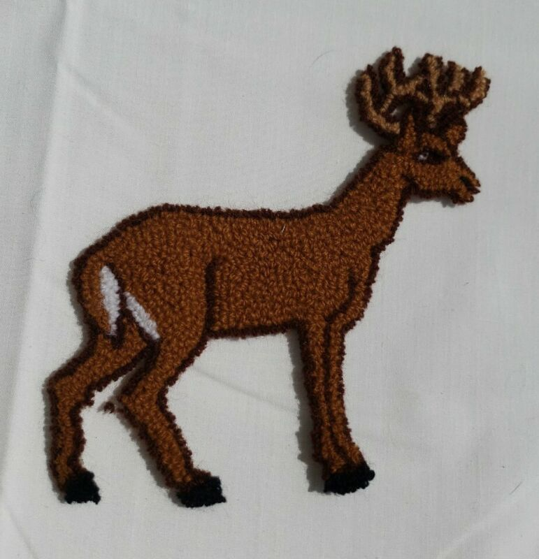 Vintage Punch Needle Embroidery Deer Buck Applique Patch Craft  EUC