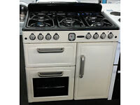 k014 cream leisure 90cm 5 burner dual fuel cooker comes with warranty can be delivered or collected