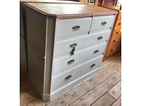 Large Antique Painted Shabby Chic Chest Of Drawers