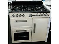 a014 cream leisure 90cm 5 burn gas hob 3 electric ovens dual fuel range cooker comes with warranty