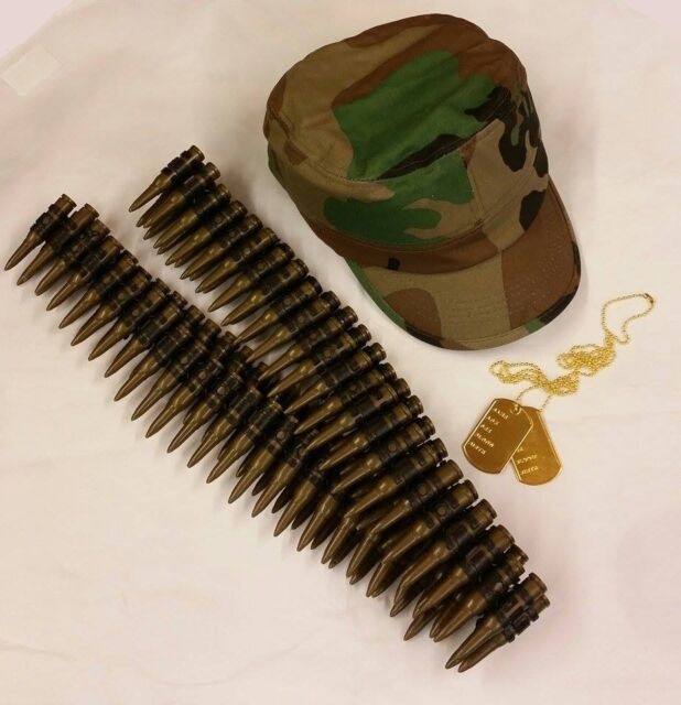 Army Fancy Dress Hat Bullet Belt & Dog Tags Kit Army Set New by Smiffys