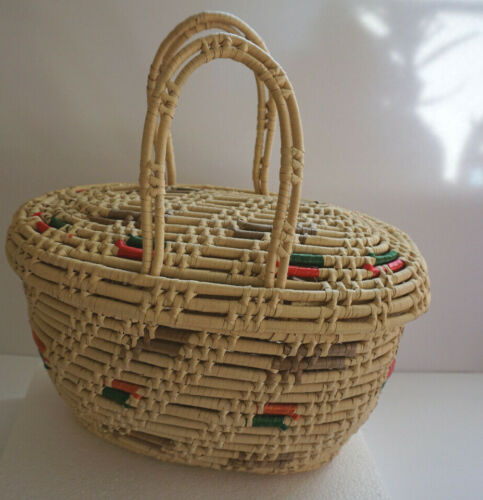 Large Coiled Basket With Lid and Handles Storege Shopping