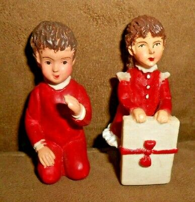 Set of 2 Christmas Train Village Pieces Girl and Boy