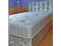 🎆💖🎆BUY IT NOW GET SAME DAY🎆💖🎆CRUSH VELVET DOUBLE DIVAN BED + SEMI ORTHOPEDIC MATTRESS