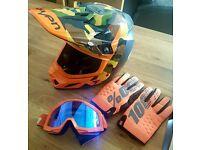 Motorcross Helmet, Goggles, Gloves