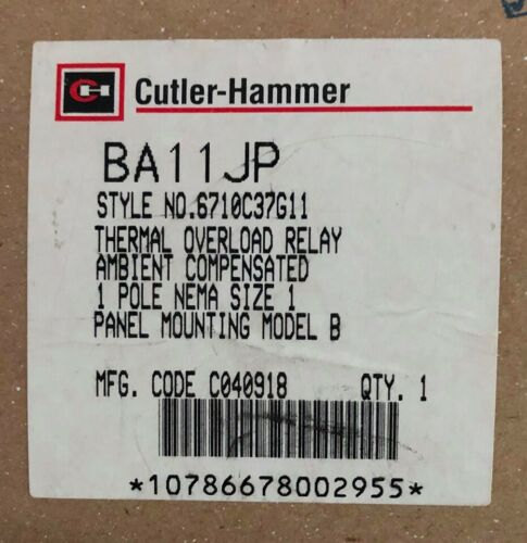 EATON CUTLER HAMMER BA11JP Size 1 B200 Panel Mount Overload Relay 6710C37G11