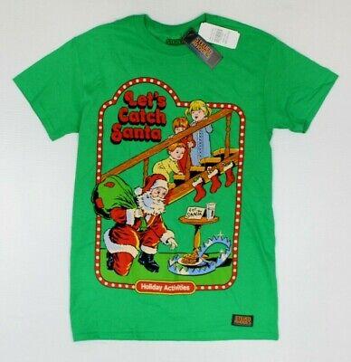 Steven Rhodes Let's Catch Santa Green Funny Christmas Retro T-Shirt New! (3E3