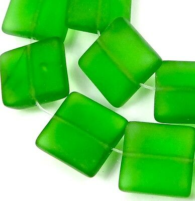 12mm Frosted Sea Glass Square Beads (13) Matte -  Emerald Green