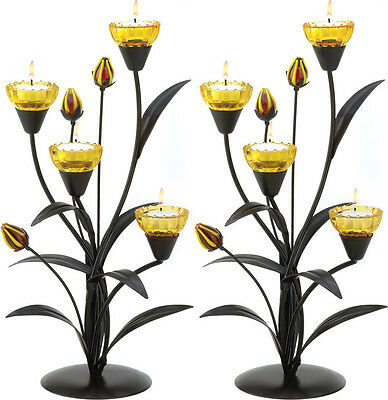Set Of 2 Beautiful Tiger Lily Tea Light Candle Holder Table Centerpiece