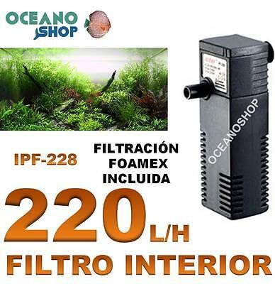 FILTRO INTERIOR 220L/H 4W ACUARIO TORTUGUERA INTERNO PECERA BAJO CONSUMO FOAMEX