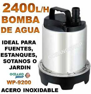 Bomba agua sumergible 2400l h 60w de acero inoxidable for Bombas de agua para estanques de jardin