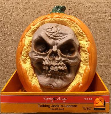 Animated Talking Jack-o-Lantern Pumpkin - face moves says scary messages - - Halloween Pumpkin Sayings