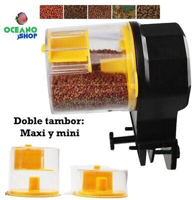 Alimentador doble tambor maxi y mini 12/24h acuario peces comedero automatico