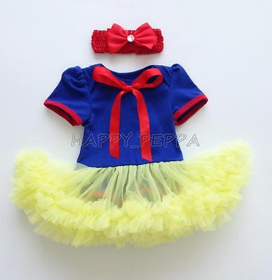 Newborn Baby Girl Snow White Tutu Romper Dress Headband Christmas Costume - Newborn Christmas Costume