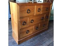 Very Large Chinese Elm Bank Of Drawers