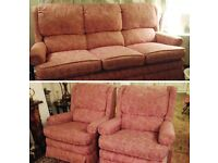 Vintage Pink Pattern Three Seater Cushion Sofa Set and 2 Matching Armchairs Comfy
