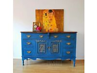 Antique Sideboard - French Buffet - Annie Sloan Aubusson Blue and Provence - Hand Painted