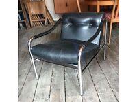 Retro Black Leather Armchair