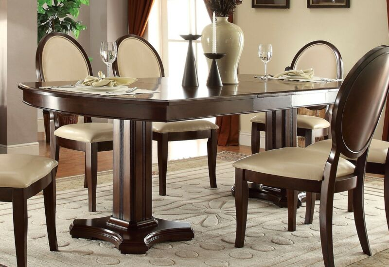 "Alastair Contemporary 66""-94"" Double Pedestal Dining Table Dark Cherry Brown,red"