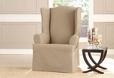 Heavyweight Cotton Duck Wing Chair Slipcover Khaki