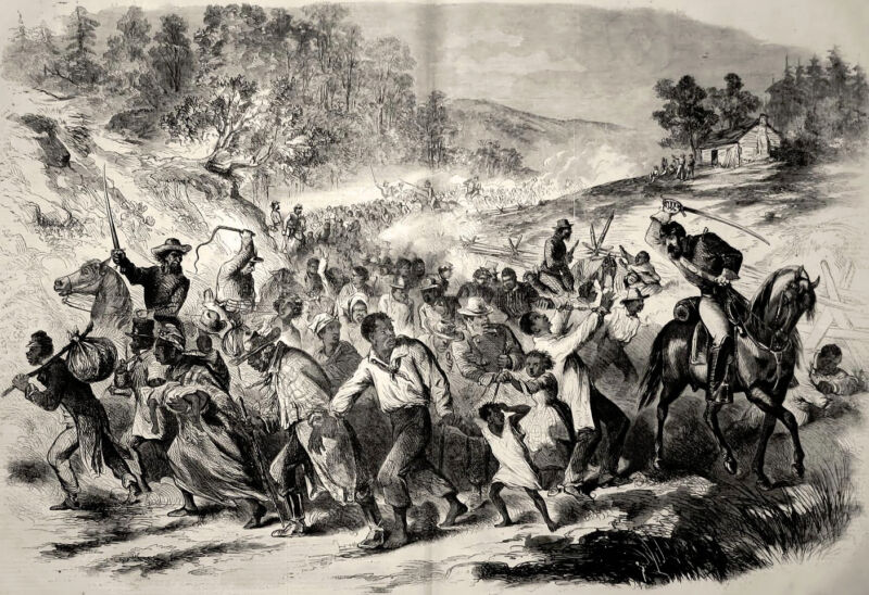 Slave Civil War Slavery Masses Driven South by Confederate Soldiers