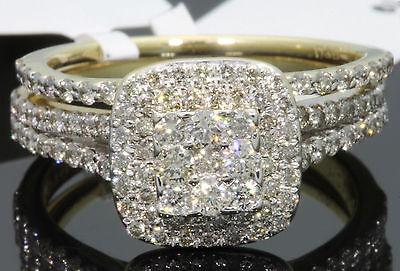 10K YELLOW GOLD 1.45 CT WOMEN REAL DIAMOND ENGAGEMENT RING WEDDING BAND RING SET