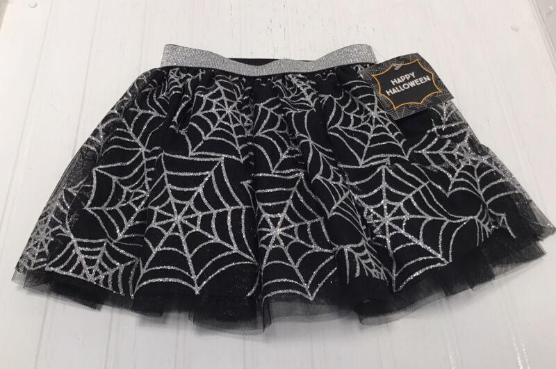 NWT NEW Halloween Girls Metallic Web Black Net Lined Skirt Sz 4T Stretch Waist