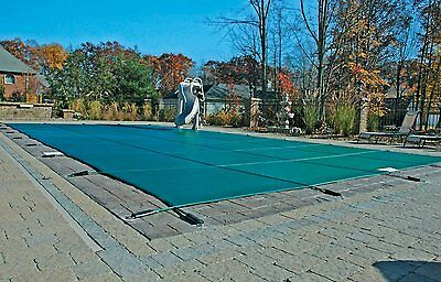 12'x24' Inground Rectangle Swimming Pool Winter Safety Cover Green Mesh 12 Year ()