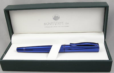 Monteverde Impressa Blue w/ Blue Trim Fountain Pen - Medium Nib - New Metallic Blue Fountain Pen