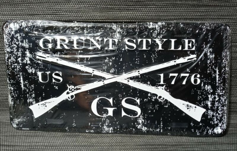 Grunt Style License Plate Tag 1776 Cross Rifles Sign Sealed