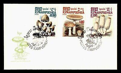 DR WHO 1985 KAMPUCHEA CAMBODIA FDC MUSHROOM CACHET COMBO  g18428