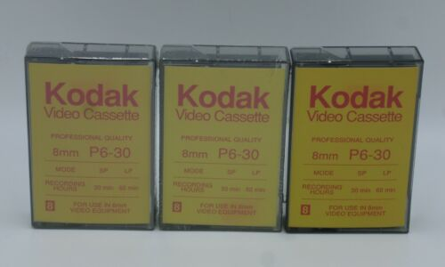 3 Lot  Kodak P6-30 8mm Video Cassette Tape 2 New Sealed / 1 Not Sealed