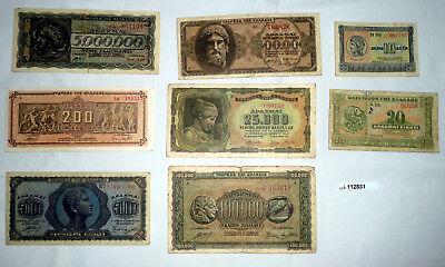 8 Banknoten 10 bis 5 Millionen Drachmen Griechenland 1940-1944 (112831)
