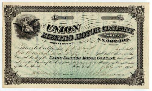 Pre-Edison July 1874 UNION ELECTRO MOTOR CO - New York STOCK CERTIFICATE # 34