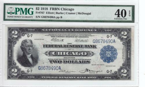 1918 $2 Federal Reserve Bank Note Chicago Battleship PMG XF40 EPQ FR#767
