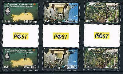 Mauritius 2011 Commemorative Events 3v GUTTER PAIRS SG 1219/21 MNH