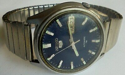 Vintage Seiko 5 Automatic 17 Jewels Day & Date Mans Wrist Watch. Working.