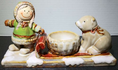 Yankee Candle Girl With Sled Seal Tealight Candle Holder Snow Winter Holiday