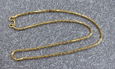 """Solid 24K Yellow Gold Heavy Bar Baht Chain Link Hook Eye Necklace 17"""" 2mm 15.3g"""