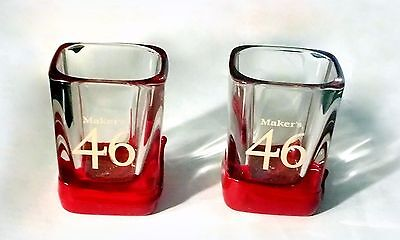 Makers 46 Engraved Prism Shot Glass 2oz, Set of 4, Red Wax Dipped