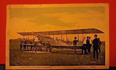 Tuning up a U. S. Army Aeroplane  White Border Post Card 1915 to 1930 Biplane