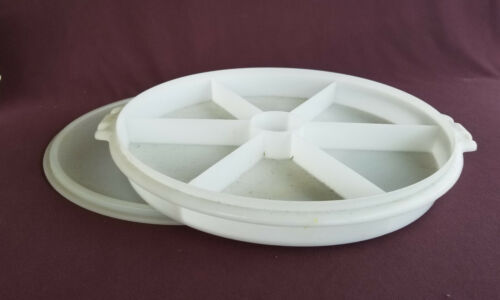 TUPPERWARE Vintage PARTY SUSAN Divided Serving Relish Tray # 405 Sheer White