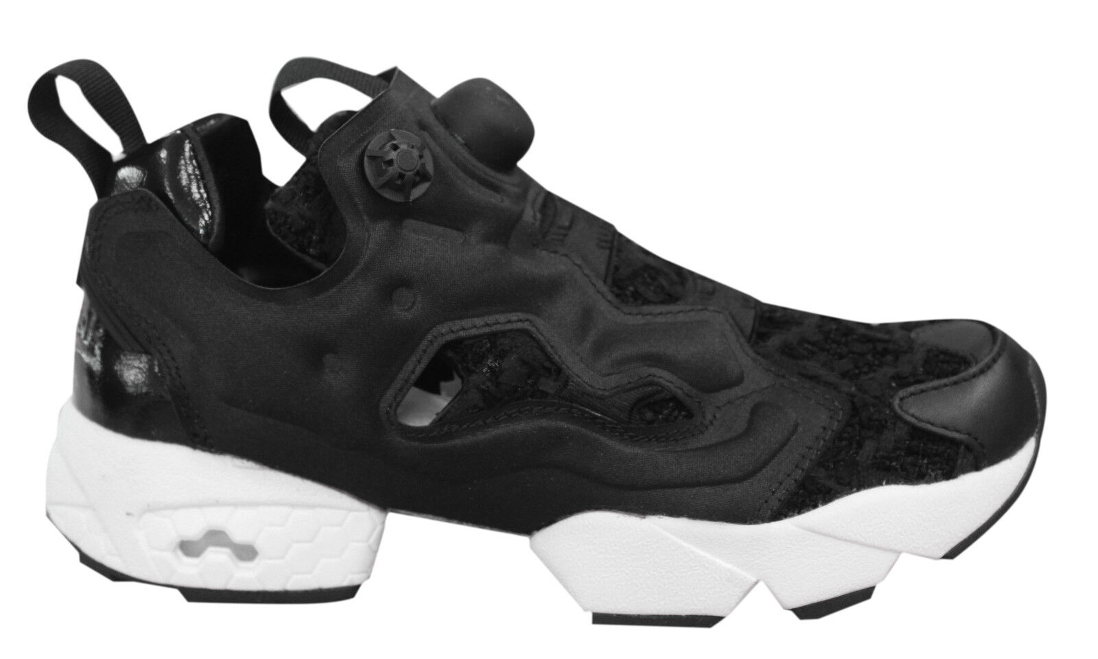 65e4f6374 Reebok Instapump Fury SC Womens Hi Trainers Mid Slip On Shoes Black ...