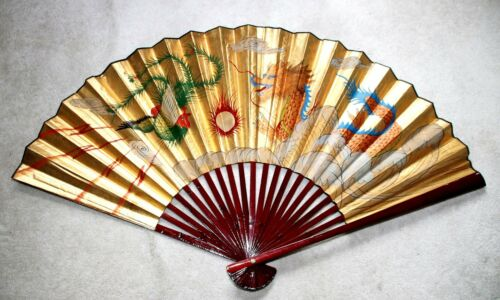 """HUGE 30"""" LONG ANTIQUE HAND PAINTED CHINESE DRAGON on GOLD TONE PAPER FAN DECOR"""
