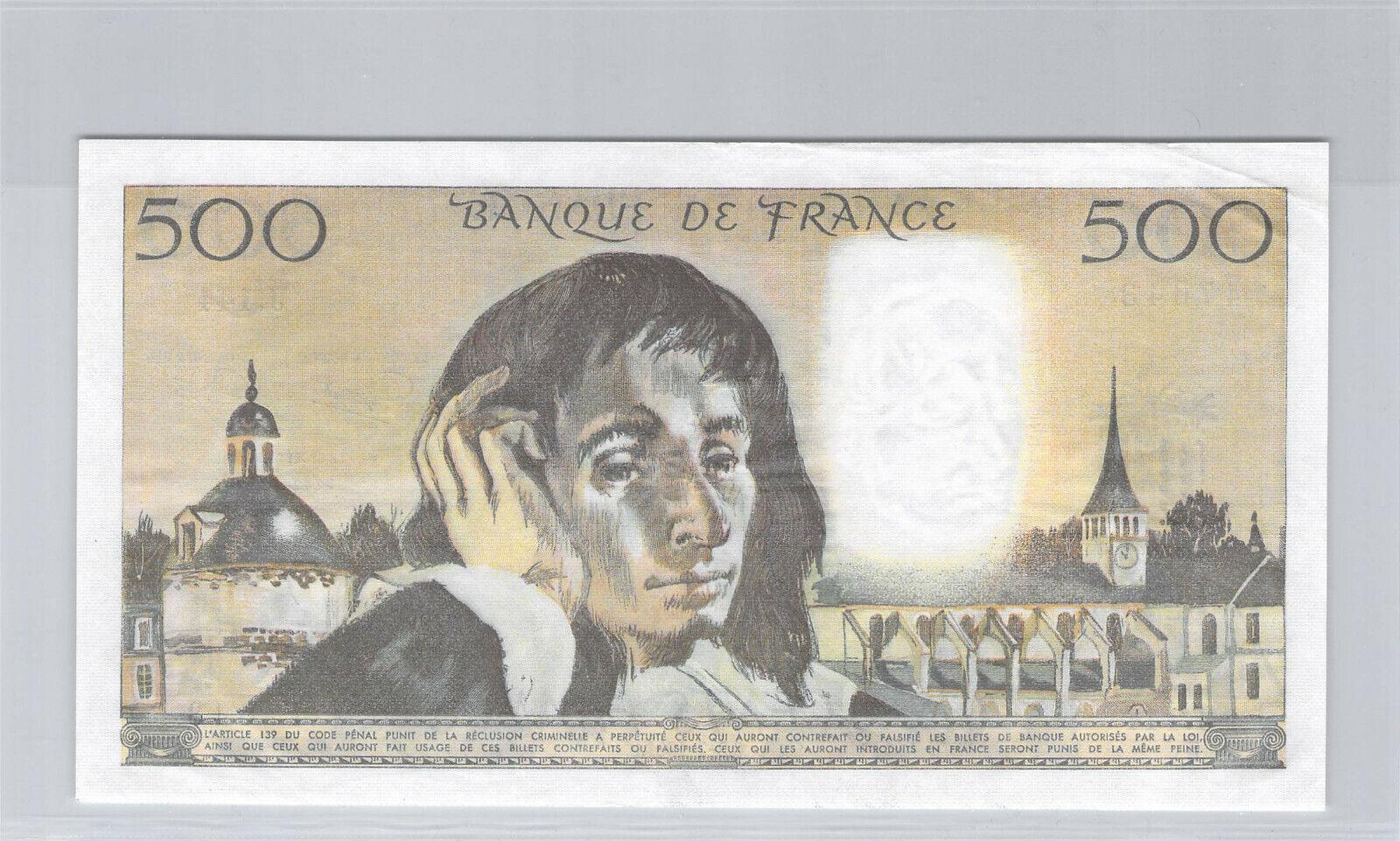 RECTO 500 francs Type 1968 Pascal - None