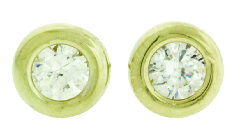 New Solid 14k Yellow Gold Round CZ Wide Bezel Stud Earrings Large Screw Back