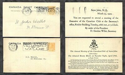 1294 - Canada ST JOHN NB 1929-30 Lot of TWO Admiral Postal Cards. Slogan Cancels