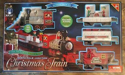 Animated Light Sound Blue Hat North Pole Junction 34 Piece Christmas Train Set